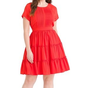 eShakti tomato red fit and flare dress, Size 14